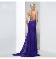 Perlen Kristalle & Pailletten Abendkleid Sexy Dunkelblau
