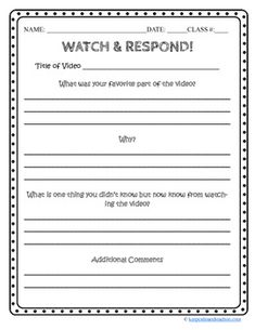 A graphic organizer for response to videos. This graphic organizer can be used with any video segment. $0.99