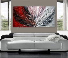Original Beauty RED Original LARGE Painting by largeartwork, $295.00