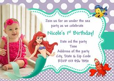 little mermaid invitation ariel invitation free thank you card - Little Mermaid Party Invitations