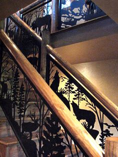 Custom #stair and #balcony #railings featuring wild forest animals.  We design what you have in mind. See more ideas at www.NatureRails.com