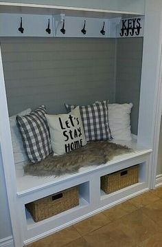 80 Modern Farmhouse Mudroom Entryway Ideas Page 19 of 80 - IKEA Front Closet, Entryway Closet, Entryway Decor, Entryway Ideas, Hall Closet, Closet To Mudroom, Closet Storage, Bench Storage, Closet Organization