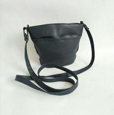 Small 1980's vintage dark blue crossbody/shoulder bag