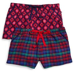 Jane & Bleecker New York Flannel Pajama Shorts, Set of 2 ($49) ❤ liked on Polyvore featuring intimates, sleepwear, pajamas, flannel pjs, flannel pajamas and flannel sleepwear