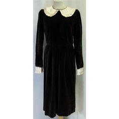 Vintage Brown Velvet Smock Dress  | #Oxfam Shop |