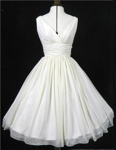 Simple and elegant 50s style wedding dress or prom gown, Ivory chiffon overlay, flattering for all sizes