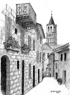 Architecture Drawing Discover Street in Assisi Italy by Al Intindola Street Scene Drawing - Street In Assisi Italy by Al Intindola Dark Art Drawings, Pencil Art Drawings, Art Drawings Sketches, Cool Drawings, Perspective Sketch, Italy Street, City Drawing, Landscape Drawings, Urban Sketching