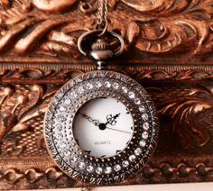 Lovely Vintage style brass pocket watch pendant necklace. by 4Seas, $18.00