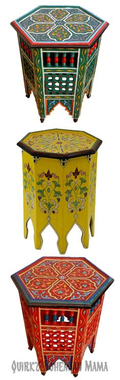 """Colorful Moroccan Side Tables {Bohemian Accent Tables} #boho #bohemian  These tables are all around 21"""" tall, they're all hand-carved and hand-painted."""