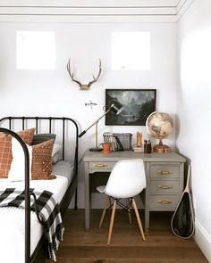 Boys bedroom with white walls, black metal bed frame and black . - Throw boy bedroom with white walls, black metal bed frame and black and white buffalo check throw. Room Design, Interior, House Interior, Black Metal Bed, Black Metal Bed Frame, White Wall Bedroom, Vintage Boys Bedrooms, Big Boy Bedrooms, Kid Room Decor