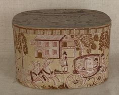 Connecticut wallpaper hat box 19th c. DS Gladding, New Haven