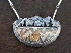 River Valley, Mountain Landscape Trout Necklace by GatherAndFlow, Portion of Proceeds to River Charity