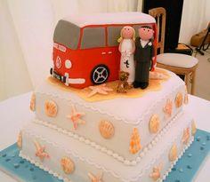 Two tier cake with VW camper van, bride and groom, shells etc #kombilove