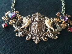 Metal Collage / Assemblage Necklace  Baroque by decadentdelusion, $80.00