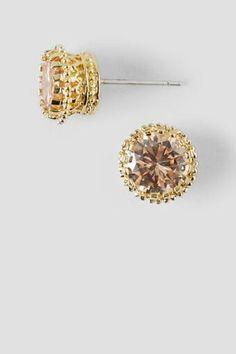 Beatrice Cubic Zirconia Stud Earrings in Champagne