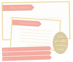 My Delicious Ambiguity: Free Printable Mailing Labels & Envelope Wraps Free Address Labels, Mailing Labels, Labels Free, Printable Labels, Party Printables, Free Printables, Cupcake Toppers Free, Diy Arts And Crafts, Journal Cards