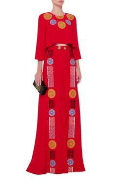 Red Embroidered Medea Maxi Skirt by PETER PILOTTO Now Available on Moda Operandi