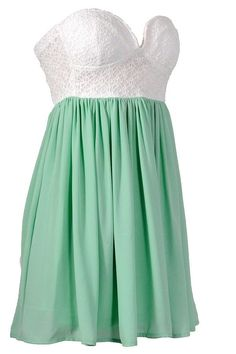 mint and white strapless sweetheart mini ...