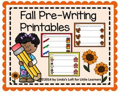 FREEBIE! These Fall Pre-Writing Printables from Linda's Loft for Little Learners include six pages in color and blackline for children to practice tracing a straight line from left to right. Make multiple copies and place in sheet protectors for use in small groups or at  a writing center.