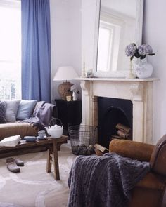 blue and brown - living room
