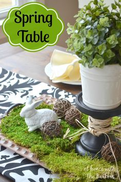 Spring Table using Bold black and white mixed with natural elements.