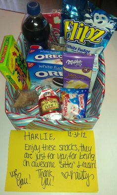 Babysitter gift basket- I took a Pringles box and wrapped it with some left over Christmas paper, I filled it with some of my sitters favorite snacks and candies and drinks. I even wrote her a cute note on paper and one on the bottled water. I left this on the counter for her when she came to watch my kid. Just wanted to show her some appreciation for being our on call sitter.