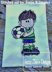 Soccer Player Sketch - 4 Sizes! | What's New | Machine Embroidery Designs | SWAKembroidery.com Jazzy Zebra Designs