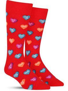 Hot Sox Candy Hearts Fun Mens Valentines Socks, black