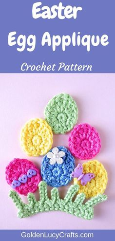 This easy crochet Easter Egg applique will be perfect as an Easter decoration. Also, in this post you will find instructions for a crochet grass applique. Easter Crochet Patterns, Crochet Art, Crochet Motif, Easy Crochet, Free Crochet, Crochet Appliques, Crochet Projects, Crochet Ideas, Holiday Crochet