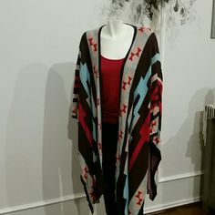 """R.Cinco Ranch Wrap Aztec print oversized wrap. """"sleeves"""" are created by a button - see attached pic.  R. Cinco Ranch Tops"""