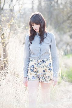 High waisted shorts - sunshine yellow linen with floral print, vintage inspired for summer country picnics - small minxshop