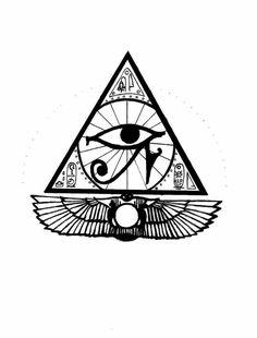 Egyptian Tattoo - Drawing, cm by RialZeeno - tatoo egypti. Anubis Tattoo, Horus Tattoo, Egyptian Symbols, Ancient Symbols, Egyptian Art, Mayan Symbols, Viking Symbols, Viking Runes, Egyptian Isis