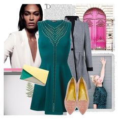 """Dress the Rainbow: Teal"" by africagirls ❤ liked on Polyvore featuring Balmain, Prada, Polaroid, Roberto Cavalli, Zara and Charlotte Olympia"