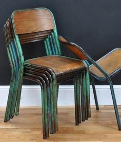 Set Of 6 French School Chairs