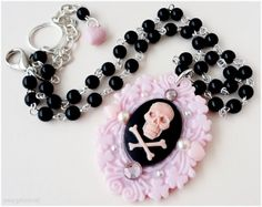 Pink Skull Cameo Necklace, Beaded Black Rosary Chain, Silver Plated - Pastel Goth, Pinup Girl on Etsy, $24.00