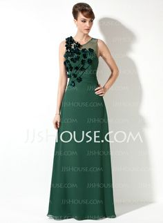 Mother of the Bride Dresses - $134.99 - Sheath Scoop Neck Floor-Length Chiffon Tulle Mother of the Bride Dress With Ruffle Beading Flower(s) (008017169) http://jjshouse.com/Sheath-Scoop-Neck-Floor-Length-Chiffon-Tulle-Mother-Of-The-Bride-Dress-With-Ruffle-Beading-Flower-S-008017169-g17169