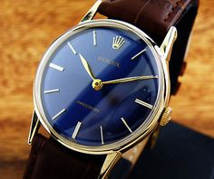 VINTAGE ROLEX PRECISION 8443 BLUE DIAL 14K SOLID GOLD CASE MENS WATCH/BEAUTIFUL