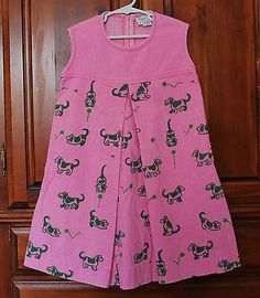 Vintage The Wee Gentress Vested Pink Green Corduroy Dog Print Dress Girls Size 7