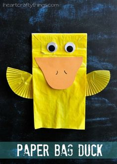 Cute Paper Bag Duck Kids Craft that is a fun spring craft for kids. There are some book recommendations in the post. from http://iheartcraftythings.com