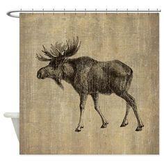 Vintage Moose Shower Curtain on CafePress.com