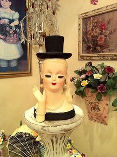 Lady Headvase with Pearls and Top Hat | eBay