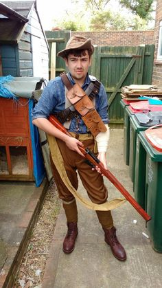 Current progress of my Frederick Bishop (battlefield 1) cosplay. The hat has been dyed darker, the 2nd (martini henry) bandolier, puttees and shoes have been bought. I've also added a strap to the rifle and shortened the stock. All that remains is for my friend to finish the cape and it's done!