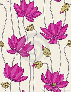 Pink Lotus - Seamless Pattern Stock Illustration - Illustration of pattern, floral: 11401153 Lotus Painting, Mural Painting, Fabric Painting, Painting Patterns, Lotus Flower Art, Lotus Art, Pink Lotus, Pichwai Paintings, Indian Art Paintings
