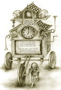 Once Upon O'Clock by Rima Staines pencil drawing and poem made for the Once Upon O'Clock website print available here Book Images, Art Images, The Time Is Now, Fairytale Art, Pencil Illustration, Art Illustrations, Cat Walk, Sculpture, Oclock