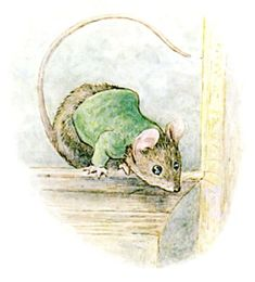 Pictures by Beatrix Potter | The Mouse watches Miss Moppet from the top of the cupboard.