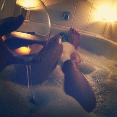 bubble bath & wine