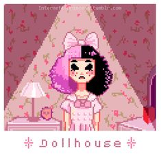 Dollhouse #MelanieMartinez #PixeArt #Cute #pastel #digitalArt #lowbrow Melanie Martinez Dollhouse, Adele, Cry Baby, She Song, Pixel Art, Crying, Pastel Grunge, Pastel Goth, Chop Chop