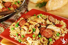 CHICKEN PAELLA    Guest Favorite This Spanish classic dish is now easy to make here at Dream Dinners. Just take our tender white chicken and mild sausage with garlic & butter infused rice, sweet red peppers, artichoke hearts and fire roasted tomatoes and serve up a hearty balanced meal from the stovetop in about 30 minutes.