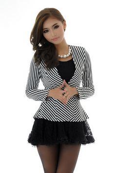 Stripe Print Long Sleeve Slimming Short Blazer