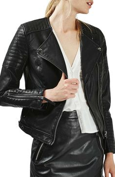 Main Image - Topshop Nelly Faux Leather Biker Jacket